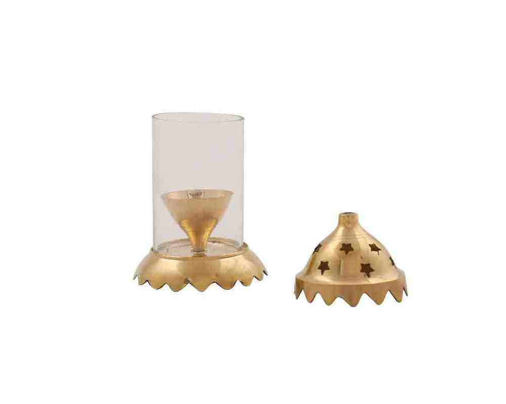Akhand Diya with Glass Cap in Brass