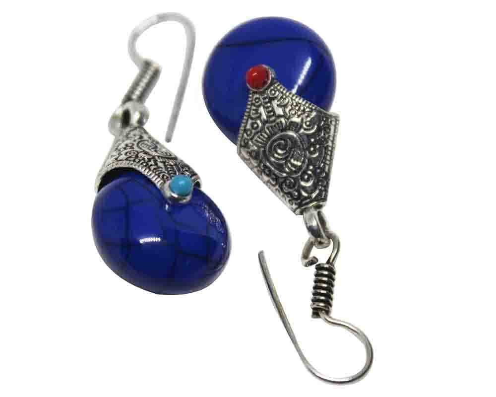 Silver Coated Designer Blue Stone Earrings
