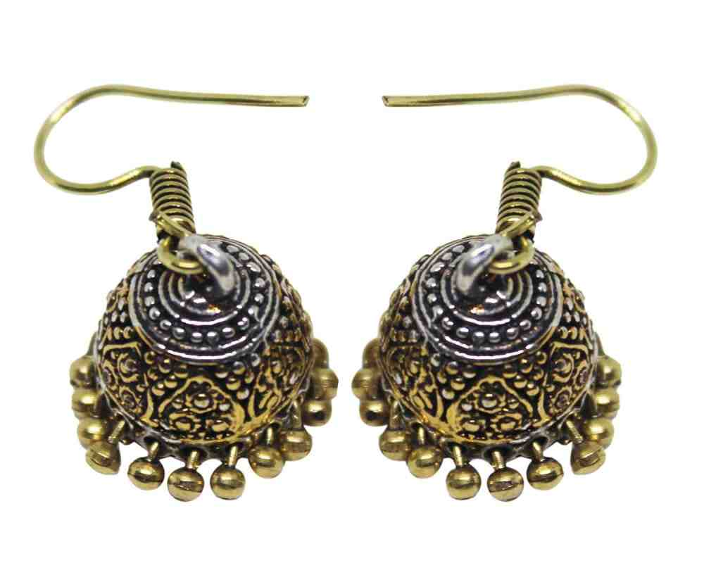 Oxidized Silver Coated Beaded Jhumki Earrings