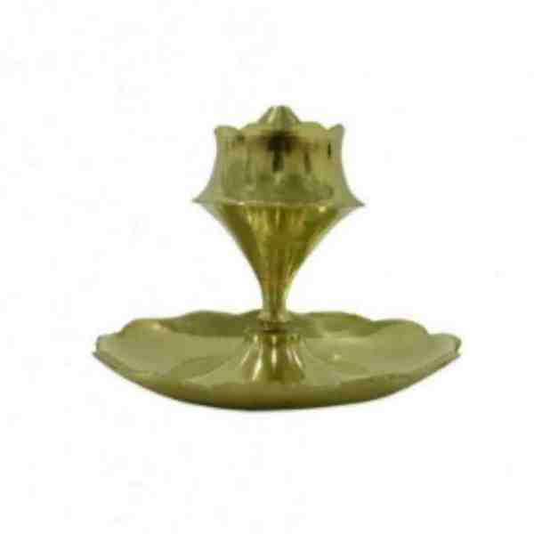 Brass Agarbatti Stand with Flower Design Base