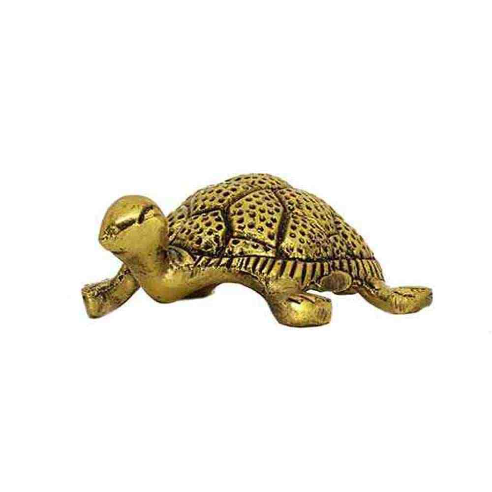 Tortoise with Plate in Golden Plated for Vastu