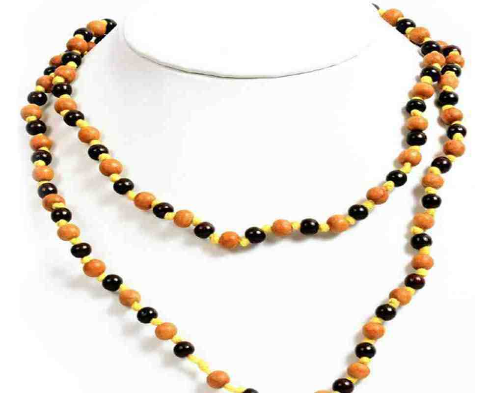 White and Blue Beads Chandan Mala with Yellow Thread