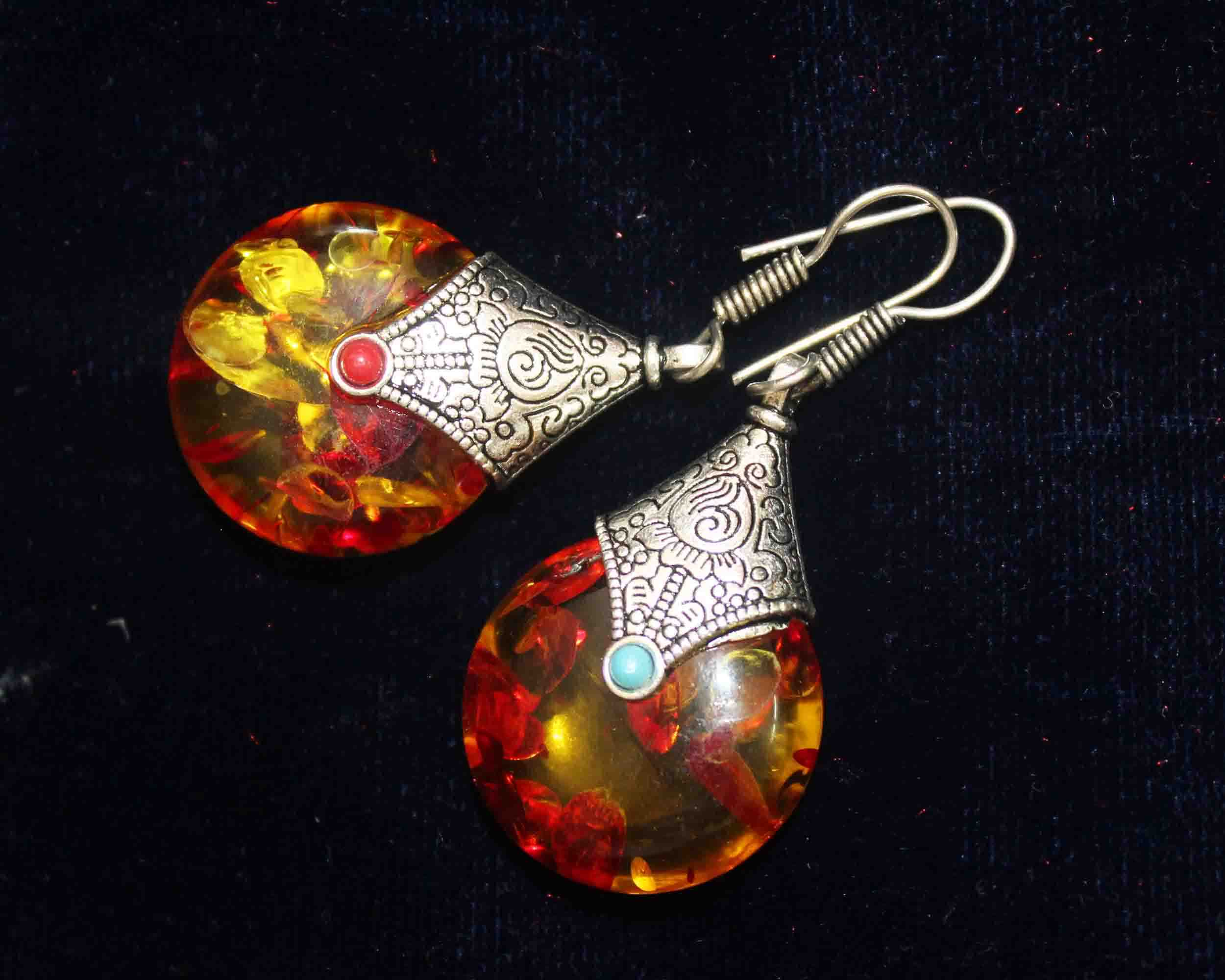 Silver Coated Yellow and Red Glossy Stone Dangle Earrings