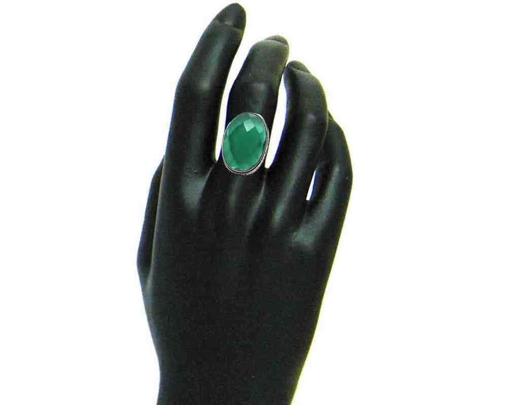 Green Emerald Quartz Coated Silver Ring Size US