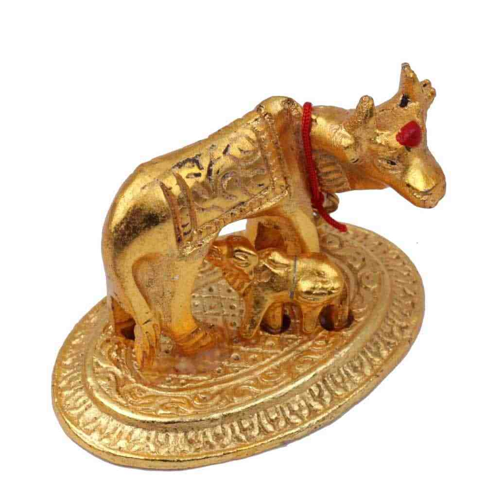 Cow and Calf Statue - Golden Color - Brass Material