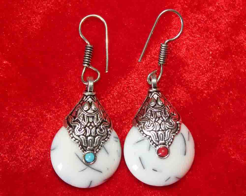 Silver Coated White Artificial Stone Earrings