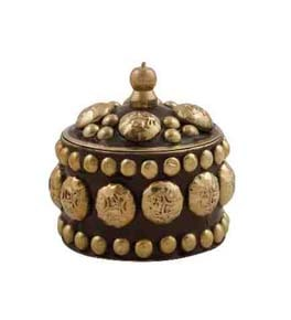 Kumkum Box Antique Look in Brass and Copper
