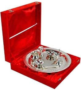 Pooja Thali Brass Silver plated (Pack Of 8)
