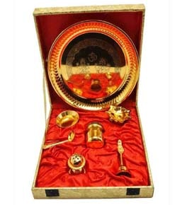 Puja Thali Brass Gold plated (Pack Of 7)