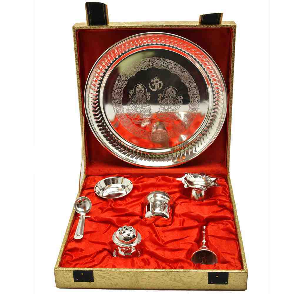 Puja Thali Brass Silver plated (Pack Of 7)