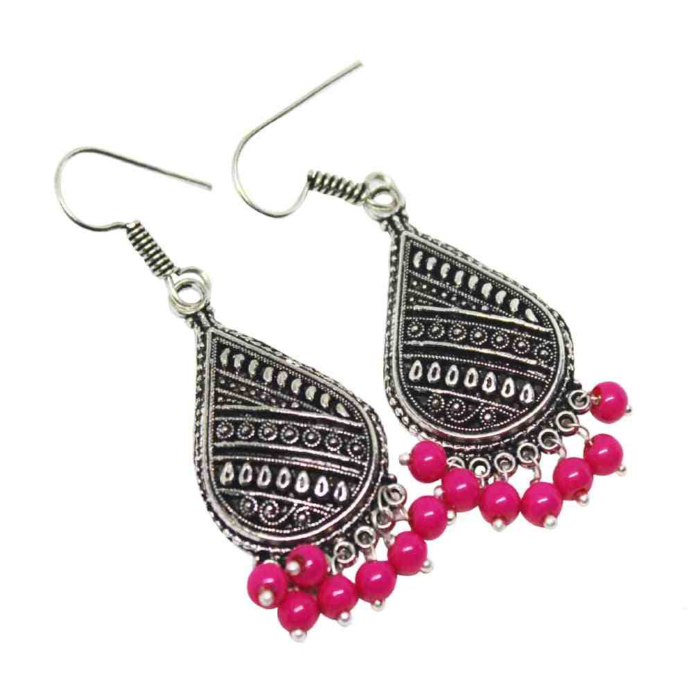 Silver Coated Dangle Earrings with Pink Beads