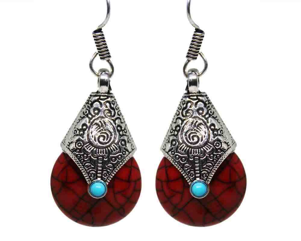 Silver Coated fashionable Red Stone Earrings