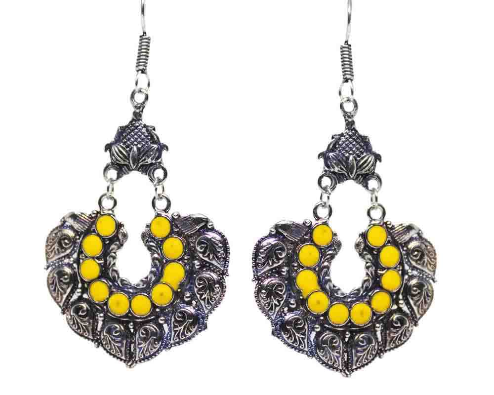 Silver Coated Chandbali Earrings with Yellow Designs