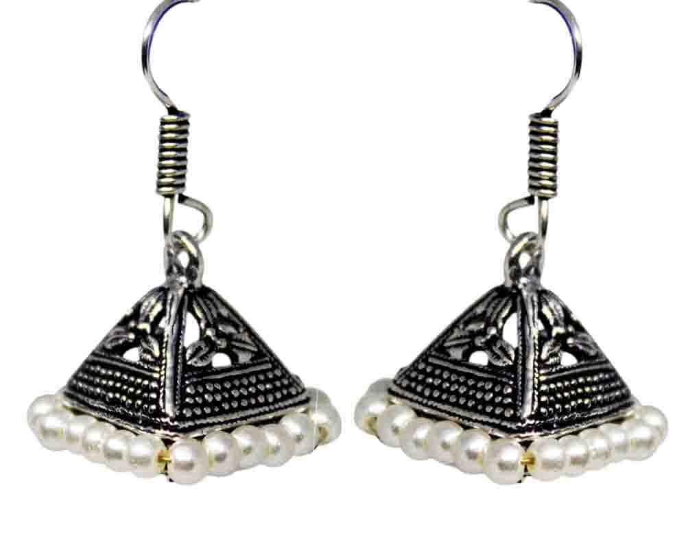 Silver Coated White Beaded Jhumki Earrings