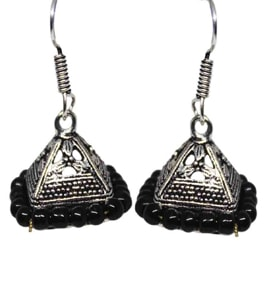 Silver Coated Black Beaded Jhumki Earrings