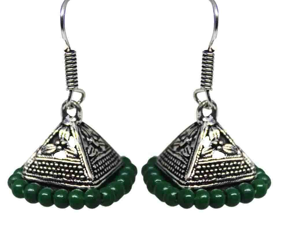 Silver Coated Green Bead Jhumki Earrings