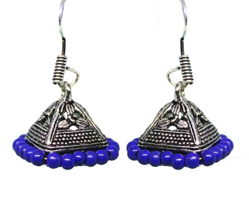 Silver Coated Blue Bead Jhumki Earrings