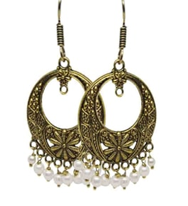 Silver Coated White  Bead Chandbali Earrings
