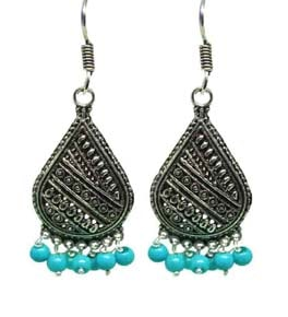 Silver Coated Dangle Earrings with Blue Beads