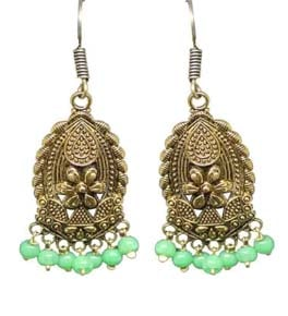 Silver Coated Dangle Earrings with Green Beads
