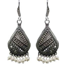Silver Coated Dangle Earrings with White Beads