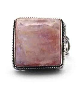 Rhodochrosite Coated Silver Ring Size 8 US