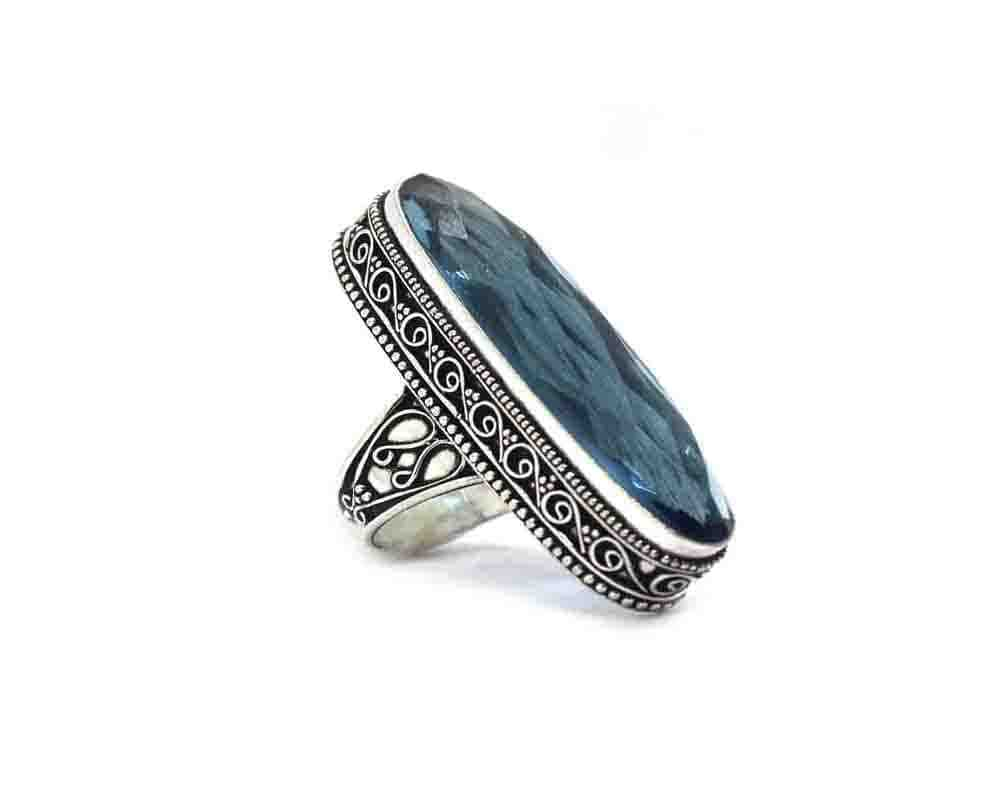 Blue Quartz Silver Coated Ring Size 8.25 US