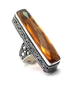 Citrine Quartz Ring in Silver Coated Size US 7.75
