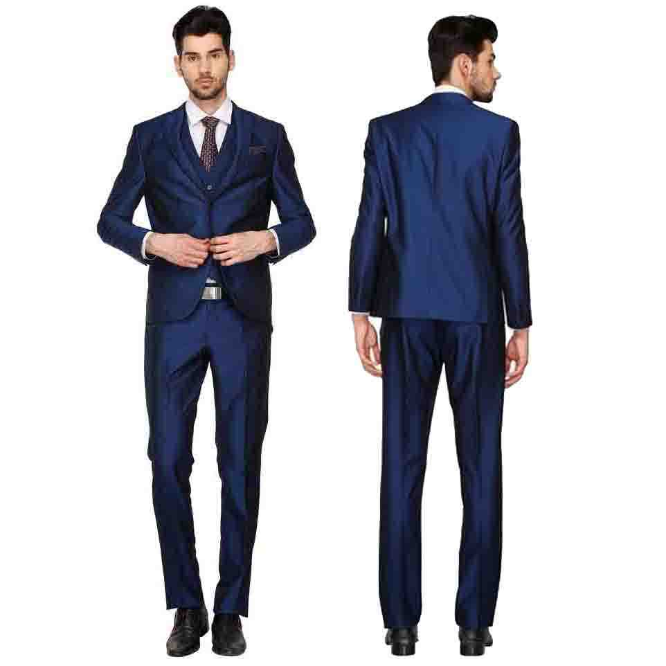 Navy Blue Stretch Blend Solid Suit
