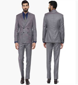 Grey Checked Suit Set Rich of Style
