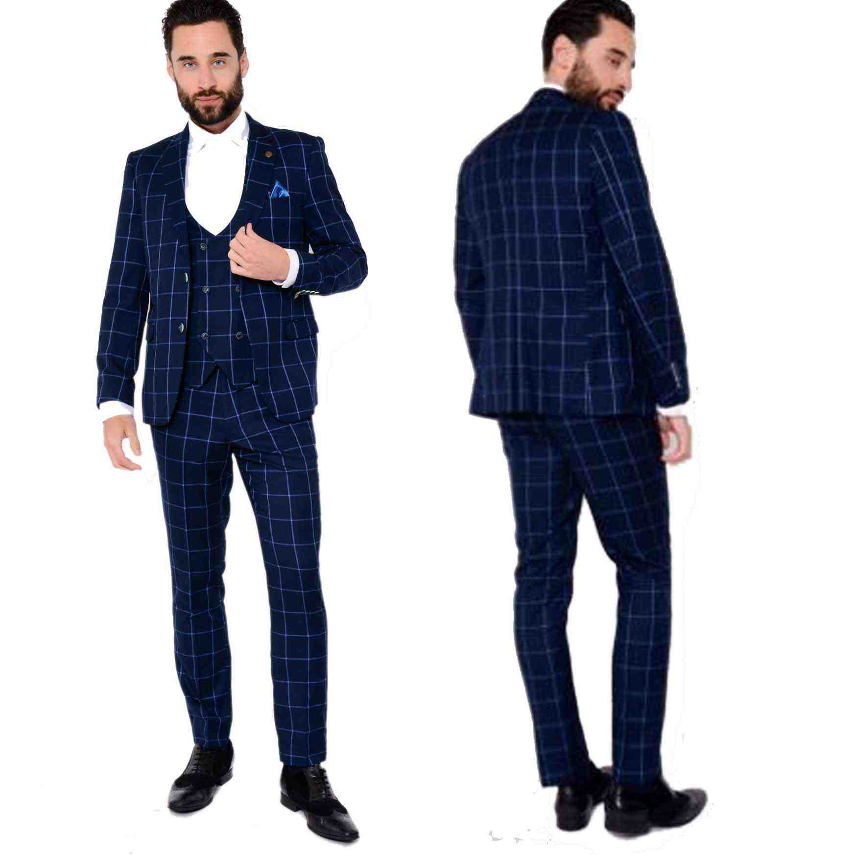 Royal Blue Slim Style Check Suit