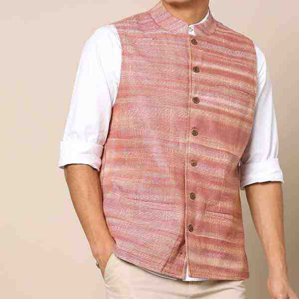 Mens Cotton Slub Nehru Jacket