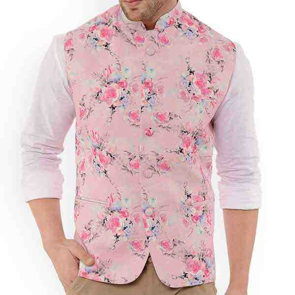 Customized Pink Printed Waist Coat