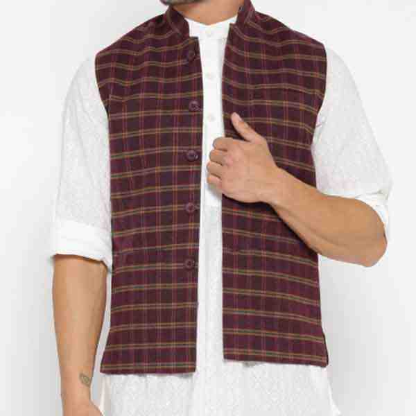 Customized Maroon Checked Nehru Jacket