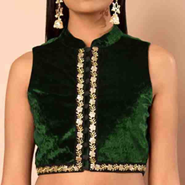 Green High Neck Velvet Blouse