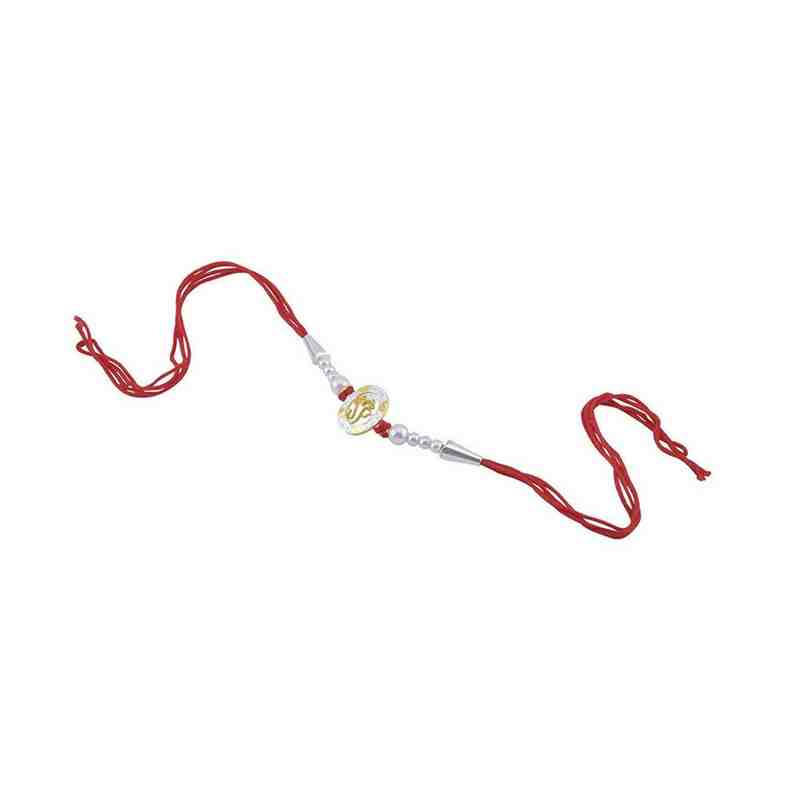 Fancy Rakhi Ganesh Design White Beads