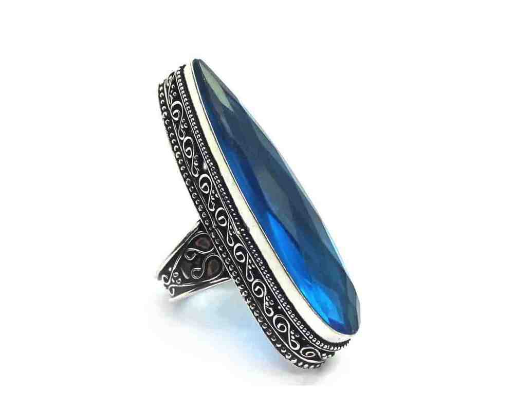 Blue Quartz Silver Coated Ring