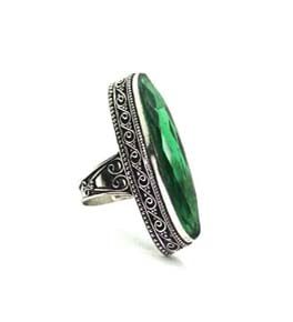 Green Quartz Silver Coated Ring