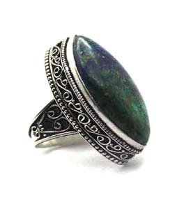 Azurite Malachite Silver Coated Ring