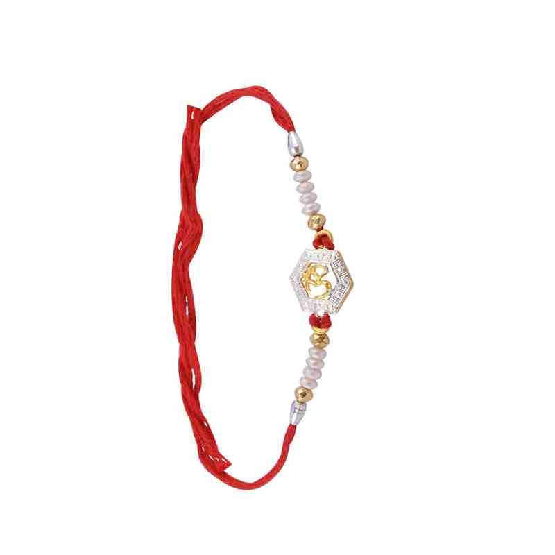 Om Design Rakhi Fancy Beads in Red Thread
