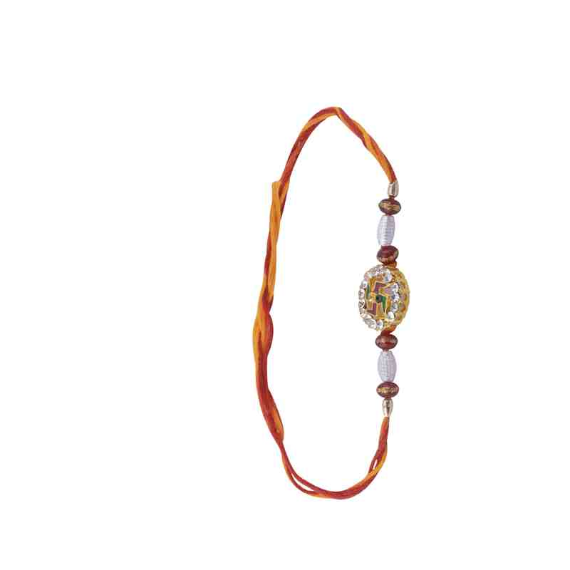 Swastik Design Rakhi with Fancy Beads