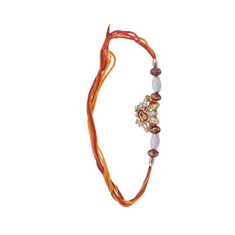 Religious Design for Brother Rakhi Om Design Fancy Beads for Rakshabandhan