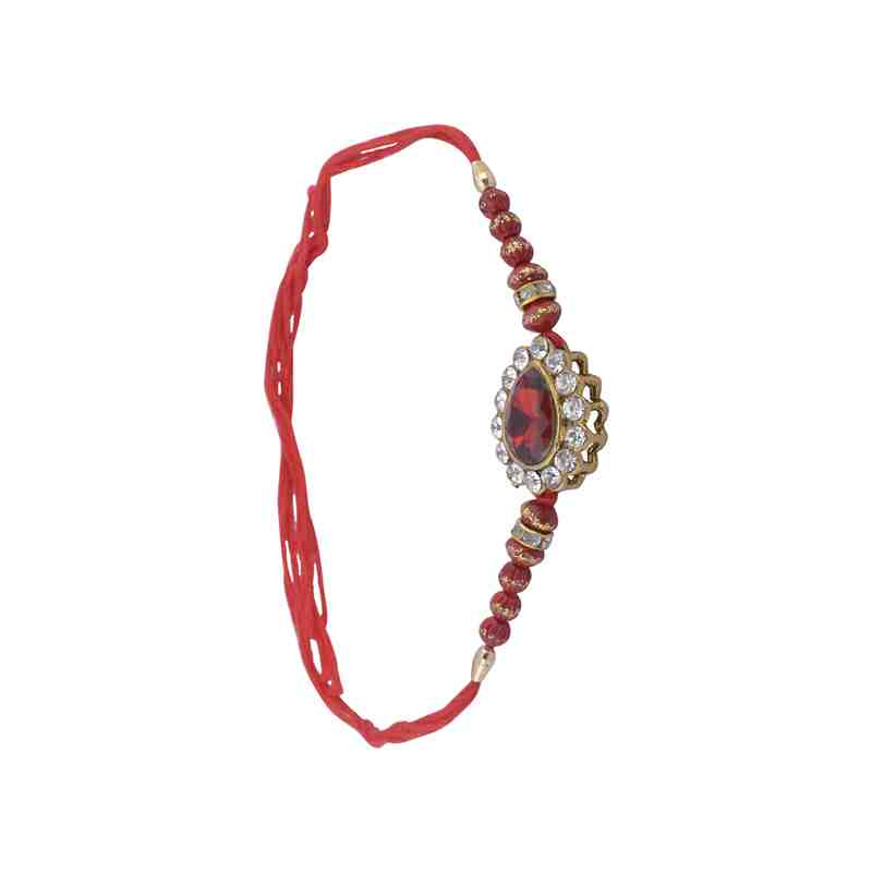 Beautiful Rakhi with Red Beads Fancy Rakhi