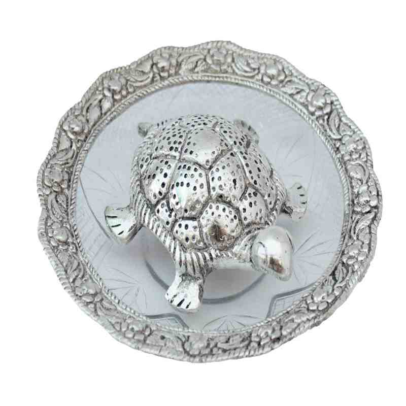 Tortoise with Plate in Silver Plated for Vastu