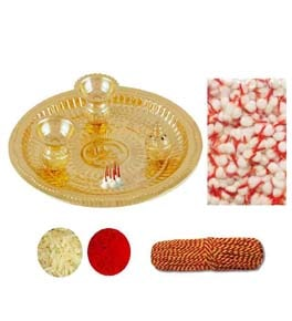 Pooja Thali Set (Thali, Roli, Moli, Chawal, Cotton-Wicks)