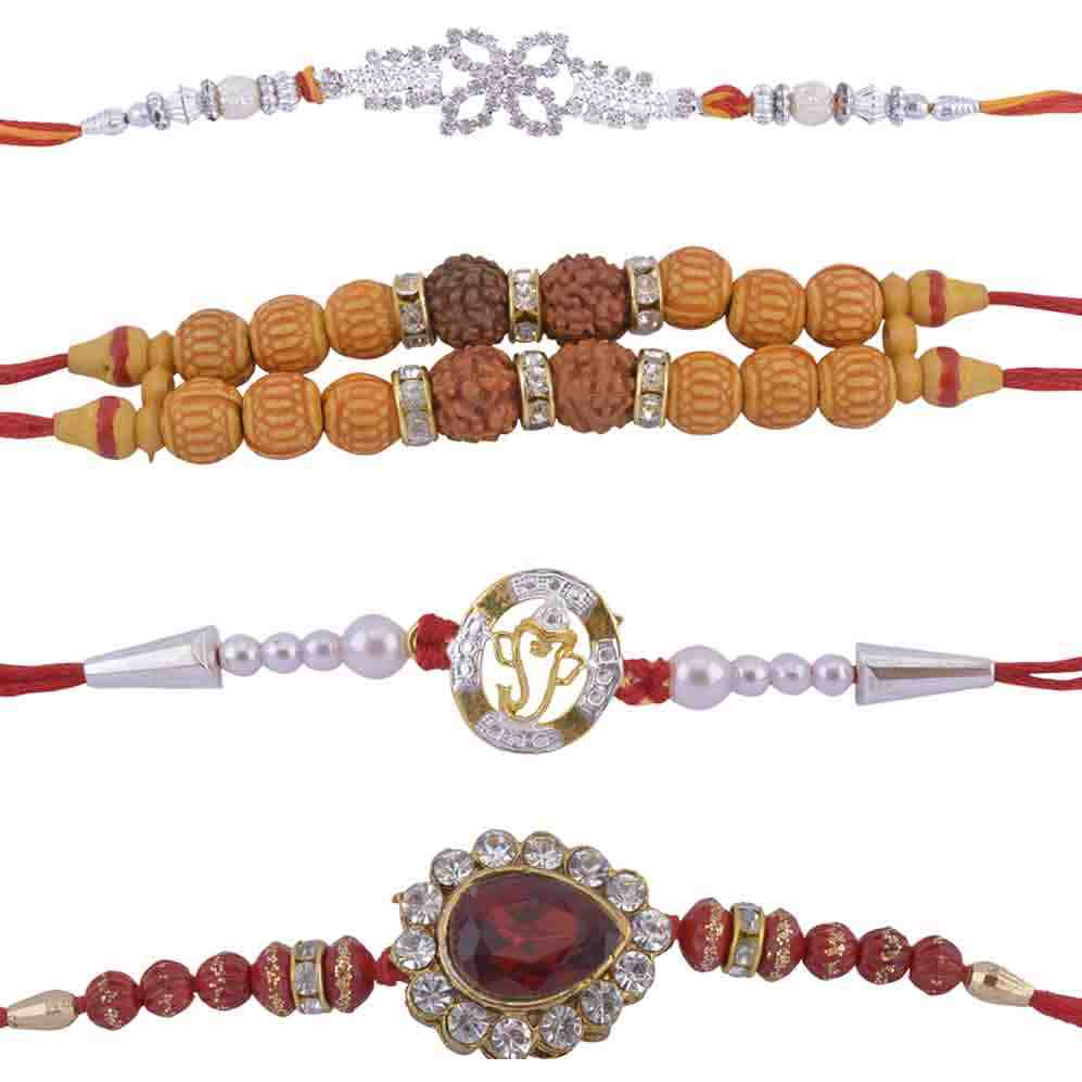 Fancy Rakhi Combo Designer Beads Set of 4