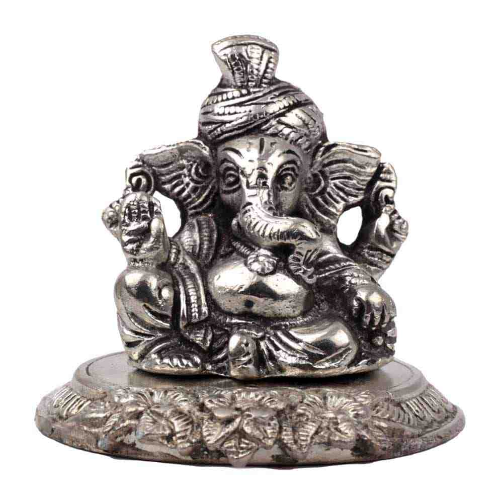 Ganesh Statue Silver Color and Made of Brass